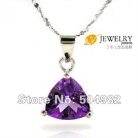 Hot Sale Stylish Sexy Romantic Design Top Quality Women ON SALE  Amethyst Pendant 925 Sterling Silver  7*7mm