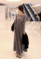 2013 autumn and winter ladies vintage slim waist long-sleeve slim one-piece dress expansion bottom mop full dress retail