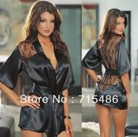 Free Shipping New Fashion Sexy Black Satin Robes Black Sexy Lingerie Women Nightwear Sexy Sleepwear