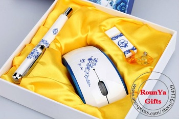 Art & Grafts Fountain pen gifts set Chinese style blue and white porcelain pen shape USB Flash Diven wireles mouse