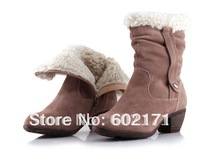 GOOD quality women Christmas Cow Leather Side zipper short ankle boots snow boots fashion keep warm flat shoes,FREE SHIPPING