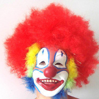 R156 halloween masquerade performance props red clown mask 185g clown wig