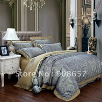 Satin Cotton Fabric luxurious Jacquard Embroidered Duvet Cover set blue gold Xizhang Buddhism pattern Queen or King bedding sets