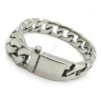 Guarantee 100% 12mm Silver Bracelet Bangles Polish Men Biker Chain Stainless Steel