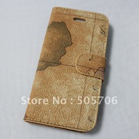 Map Design Leather Case Cover For Apple iphone 5 Book Style