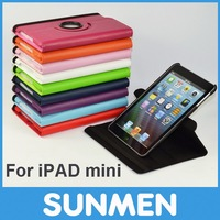 360 degree Rotating Lichee Pattern Leather Stand case for iPad Mini, Free shipping by FedEX