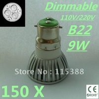 150pcs Dimmable High power B22 3x3W 9W 110V/220V led Light Lamp Downlight led bulb spotlight Free shipping UPS FEDEX and DHL