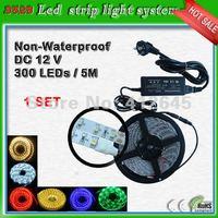 SMD3528 60 leds/m flexible light strip system_free shipping single color 5 meter led ribbon tape 300 leds