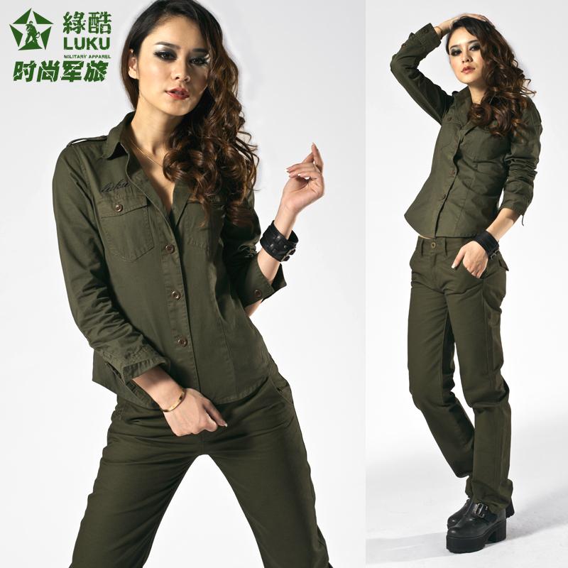 camisa verde del ejército hembra hembra verde de camisa larga- manga