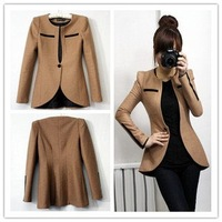 XXL Spring Autumn Korea cultivating woolen suits one-platoon long suit Details Photos women camel jacket Free Shipping
