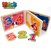 Toy 1-10 number puzzle wood books baby enlightenment toy wooden toy
