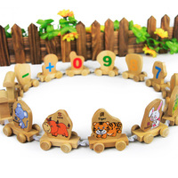 Toy wooden wool puzzle toy zodiac trainmen