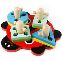 Wooden blocks toy beetle column shape set column