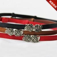 Strap small flower style women's rose chromophous all-match thin belt women's decoration belt