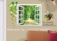 Wholesale comely Window of the forest Wallpaper Mural Decal Decor Home Art Removable Craft 3D Wall Stickers DIY Free shipping