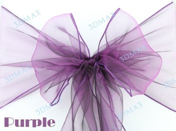 Free Shipping 90 pcs/lot Wedding Organza Chair Cover Sashes Sash Party Banquet Decor Bow purple Colours