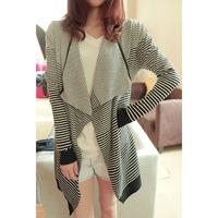 Free shipping/2014 fashion street style loose stripe irregular long-sleeve cardigan,O-708