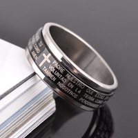 Bible rotating male titanium ring finger ring black