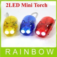 200pcs/lot RA Little rabbit 2LED Hand Press Chinese Loong Flash light Keychain Two Super Bright LED lights Free Shipping