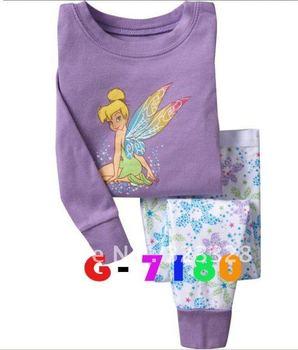 Lovely flower fairies baby pajamas kids jumpsuits bodysuit kids sleepwear baby girl pyjamas 6sets/lot Free shipping