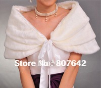 Free shipping New Ivory sleeveless artificial Fur wedding jackets bridal shawls Factory Price Sky-S011