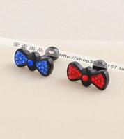 Titanium black diamond bow butterfly flower stud earring earrings female stud earring earrings x1023