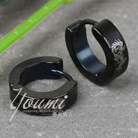 Stainless steel titanium black circle earrings in ear logo earrings male stud earring