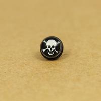 Boys titanium white skull earrings no pierced magnet stud earring
