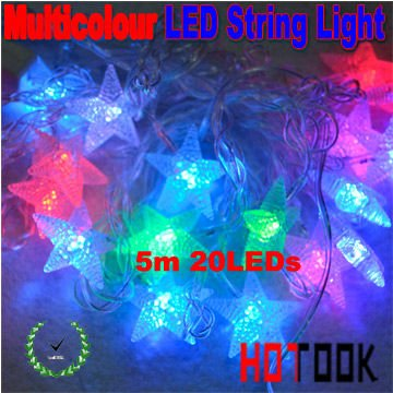 Wholesale RGB Crystal Waterproof IP65 Mini Star 5m 20leds led string decoration Christmas lights CE x 25pcs - ship via express(China (Mainland))