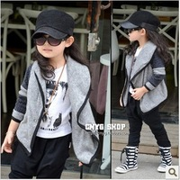 Pleasant baby casual gray colorant match large lapel cardigan sweatercoat
