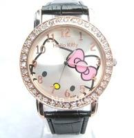 10pcs/lot 2012 New Big dial lovely hello kitty Watches Girls Ladies Wrist Watch Hellokitty Quartz watch Fashion Nice Gift watch