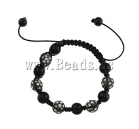 19 USD Free Shipping Zinc Alloy Shamballa Bracelet, wax cord with black crystal beads & rhinestone zinc alloy beads, 10mm