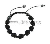 19 USD Free Shipping Turquoise Shamballa Bracelet, wax cord with skull turquoise beads & hematite beads, 16x17mm