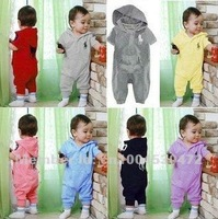 Big Deal! 100% cotton infant kids Short sleeve Baby romper with hat,Baby jumpsuit and baby bodysuit 3 Pcs per Lot.
