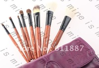 Free shipping high quality goat hair puple color 8pcs makeup brush set