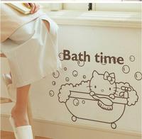 hello kitty bath time  glass bathroom shower room wall sticker (small size +big size ) 2pcs /set many color wall sticker