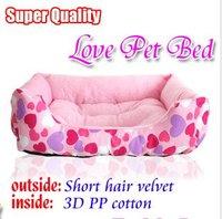 Free shipping,  Super Quality Love Pattern Pets Bed,Pink color 55*40*18cm,Short hair velvet / 3D PP cotton,wholesle item