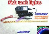 L24CM Fish tank led lights, white and blue aquarium lighting, Eco-friendly moonlight flexible strip lights, free shipping