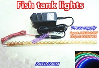 L24CM Fish tank led lights, white and blue aquarium lighting, Eco-friendly moonlight flexible strip lights, free shipping