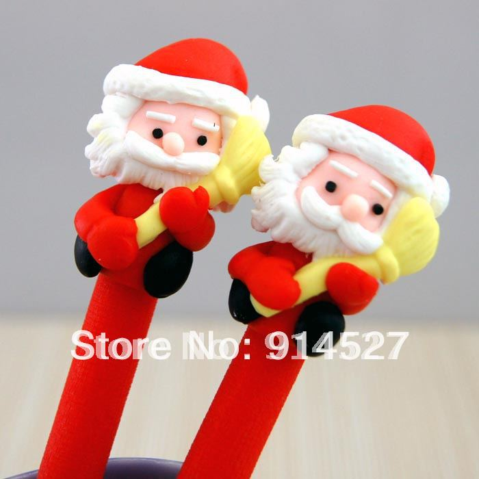 Wholesale Cool Christmas Gifts Presents Lovely Handmade Santa Claus Ball Point Pen Promtion Gifts LOGO AD(China (Mainland))