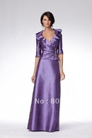 md000104 2012 free shipping Mother wear Hyacinth Silk taffeta V-Neckline three quater sleeves floor-length Hemline