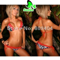Sunlun Ladies' Sexy Zebras Bud Silk Bathing Suit Bikini Set Two Colors Available