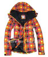 Free shipping 2013 womens orange grid waterproof snowboard jacket girls windproof colorful skiing jacket skee parka skiwear