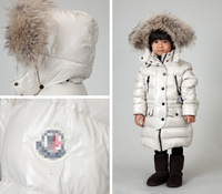 2012 winter baby down coat male female child down coat beige medium-long large fur collar
