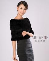 Chopop Luxury mink cape Women mink knitted fur scarf formal dress accessory black brown OEM Wholesale price