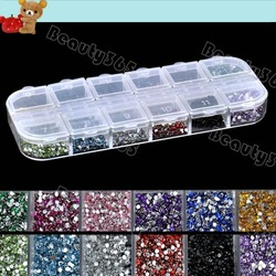 New 3000pcs Mix 12 Color 1.5mm Circle Beads Nail Art Rhinestones Glitters Nail Art Gems Decoration 6398(China (Mainland))