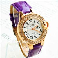 Wholesale fashion korean style Real cow leather quartz watch women ladies students sports wrist watch Free shipping