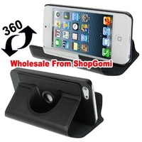 360 Degree Rotatable Leather Case with Holder for iPhone 5 many colors available 10pcs/lot  Free Shipping