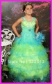 Hot sale floor-length spaghetti straps Organza beading cute girls pageant dresses F2023