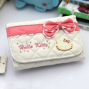 Hello kitty wallet rhinestone HELLO KITTY short design female wallet cartoon wallet(China (Mainland))